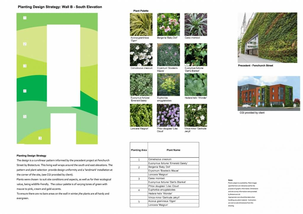 Example of Living Wall Planting Plan which is part of the Living Wall Construction Design