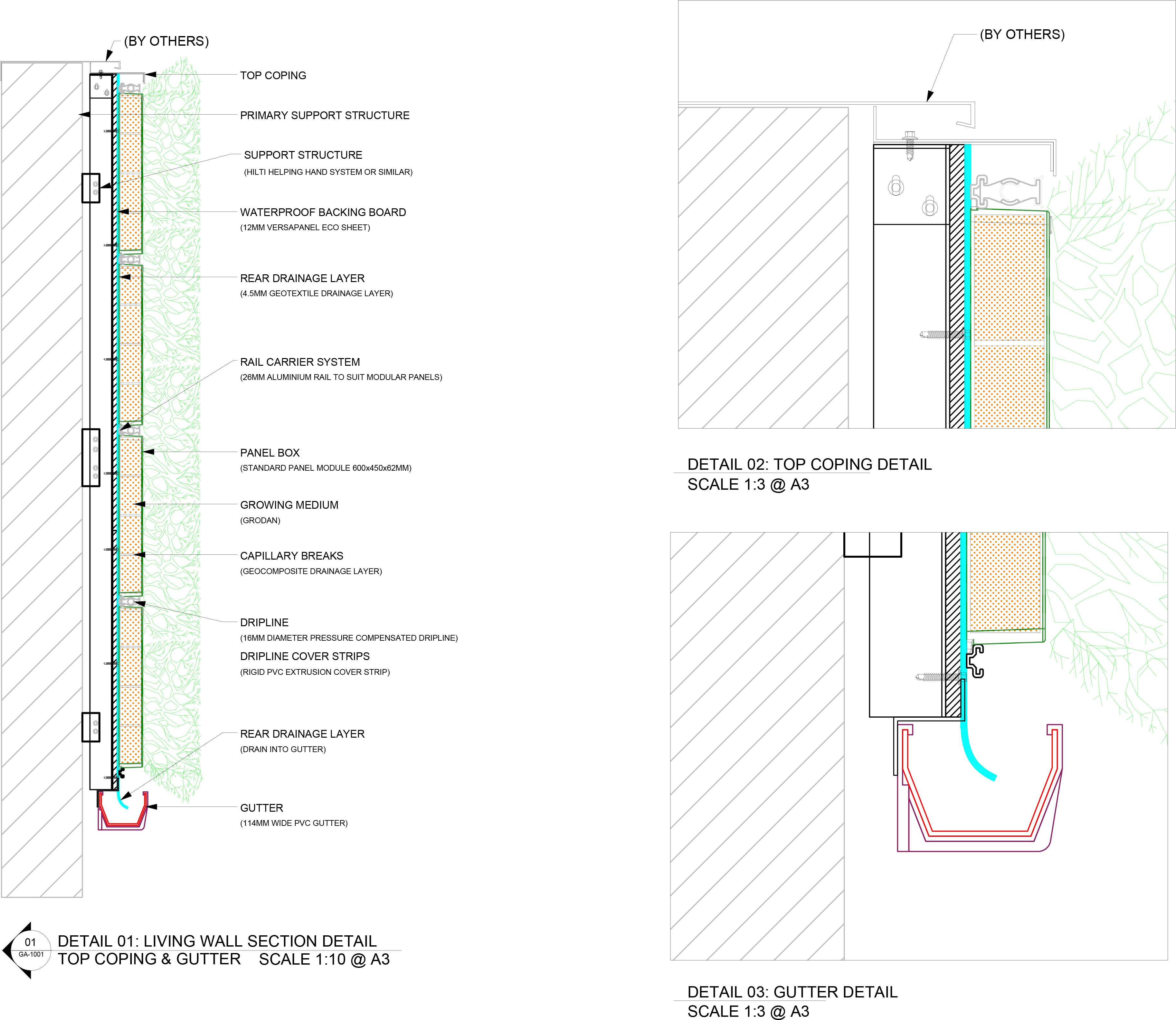 Living Green Wall Specification Detail Drawings
