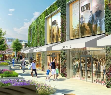 Artist impression of the living wall at Ashford designer outlet in Kent