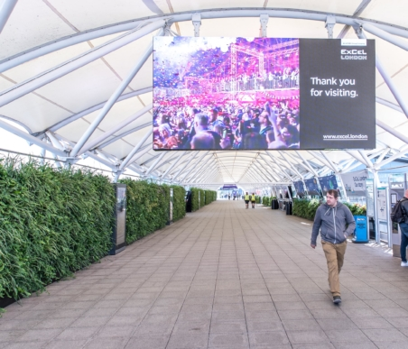 ExCeL Living Wall arrival experience welcoming visitors to the ExCeL centre in London